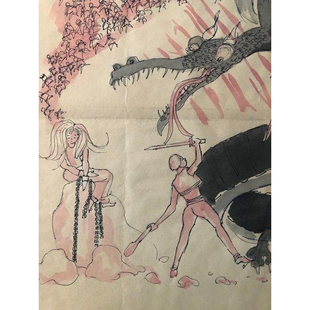 Illustration 1950s Prince and the Eagle Fantasy Illustration For Sale - Image 3 of 9