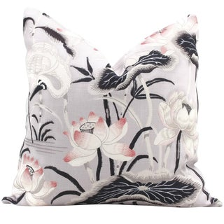 "20"" x 20"" Schumacher Lilac Lotus Garden Decorative Pillow Cover"