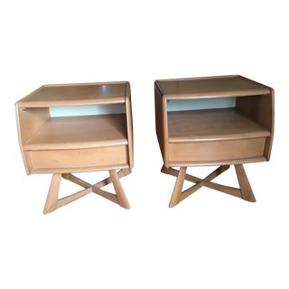 1960s Mid-Century Modern Heywood Wakefield Maple Nightstands - a Pair