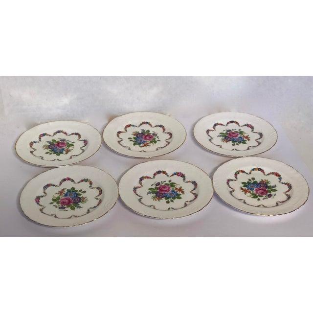 English Traditional English Bone China Floral Salad Plates - Set of 6 For Sale - Image 3 of 5