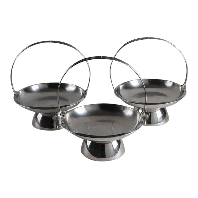 Set of Three Steel Baskets by Gio Ponti for Arthur Krupp, Milano For Sale