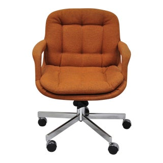 Vintage Mid-Century Modern Orange Tufted Chrome Office Desk Chair by Patrician For Sale