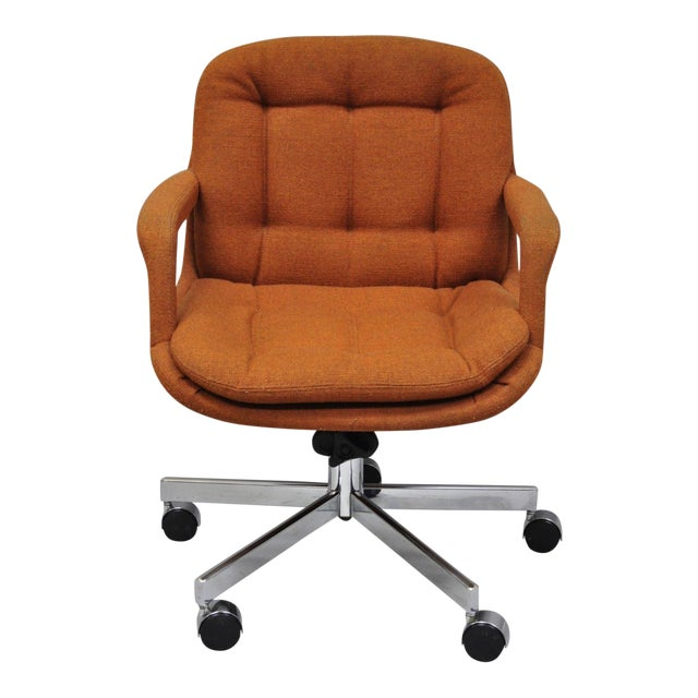 Vintage Mid Century Modern Orange Tufted Chrome Office Desk Chair By