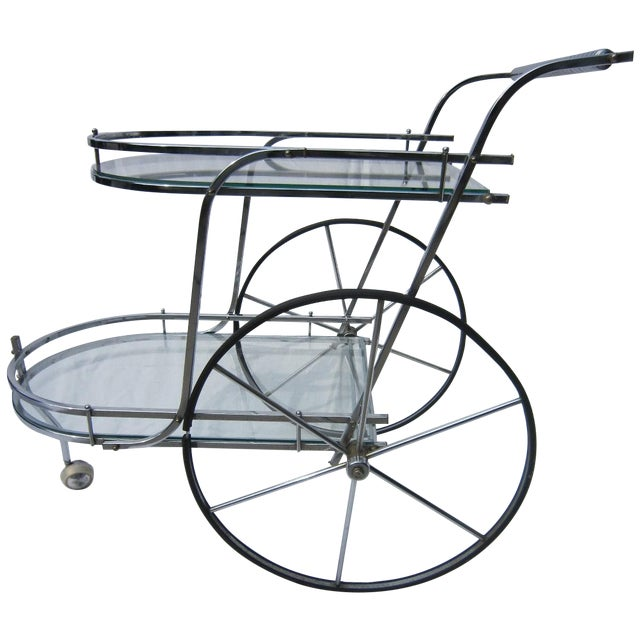 Italian Chrome Bar Cart - Image 1 of 6