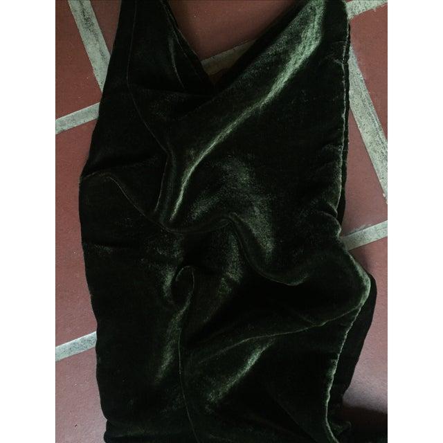 Green Moss Green Silk Velvet Lumbar Pillow Cover For Sale - Image 8 of 10