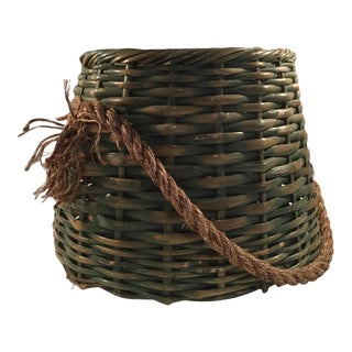 Mid-Century Boho Wicker Basket