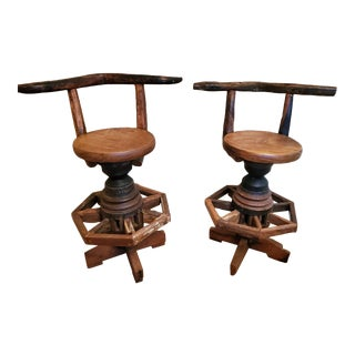 19th Century Rustic Antique Ox Yoke & Wagon Wheel Reclaimed Timber Bar Chairs - a Pair For Sale