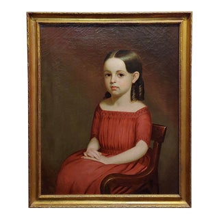 19th Century Portrait of a Beautiful Girl in Red -Oil Painting For Sale