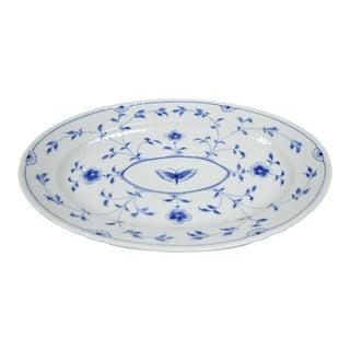 Bing and Grondahl B&G Kjøbenhavn Denmark Butterfly Lace Blue Oval Platter For Sale