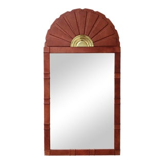 Vintage Sarreid Leather and Brass Arched Mirror For Sale