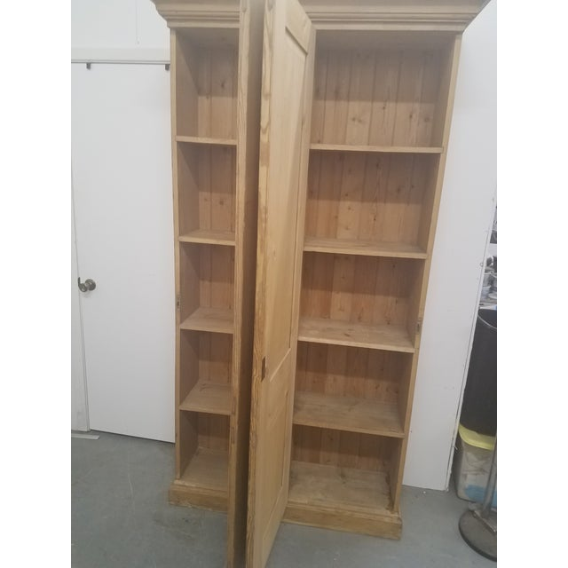 Wood Antique English Pine Tall Cupboard For Sale - Image 7 of 13