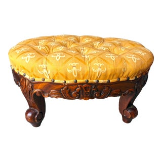 Vintage Mid Century Craved Wood Footstool For Sale