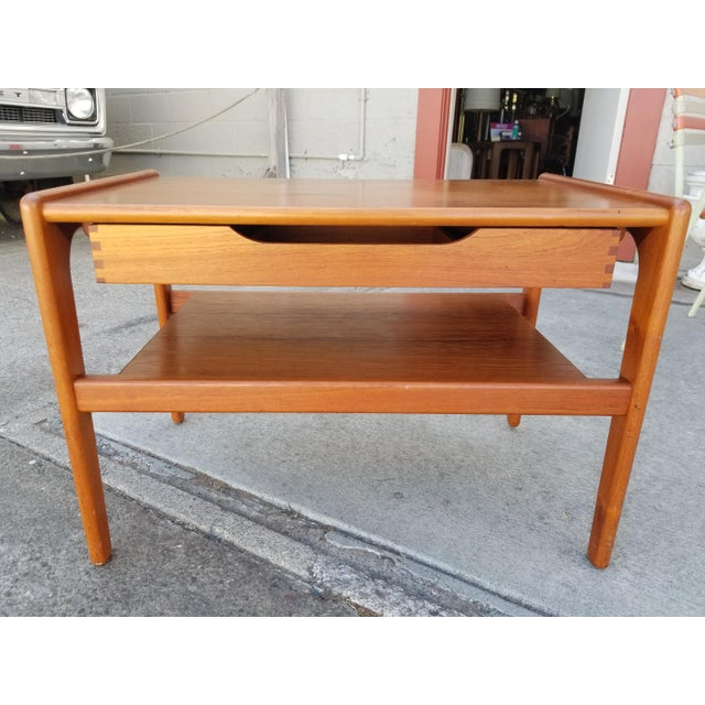 Teak Danish Modern Side Table With Drawer For Sale - Image 10 of 11