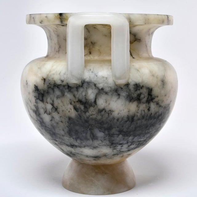 Italian Carved Alabaster Vase With Handles For Sale - Image 4 of 11