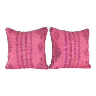 Pair Set of 2 Covers Boho Vintage Handwoven Pink Kilim Pillow Cover 18'' X 18'' For Sale