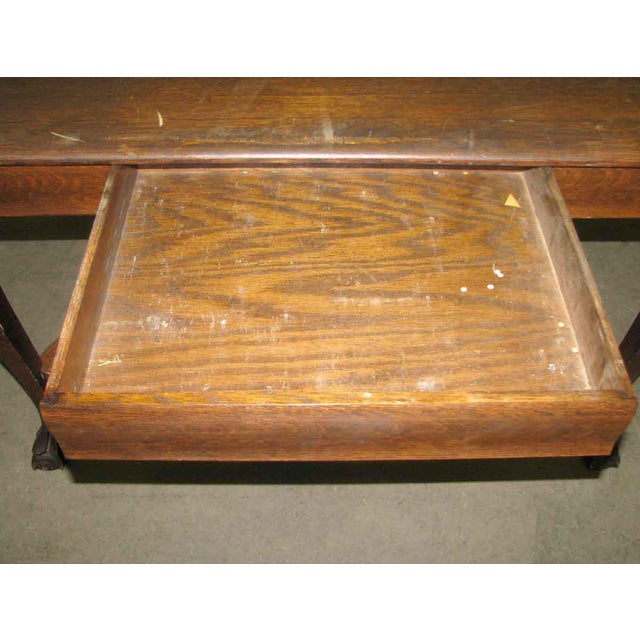 Antique Tiger Oak Table with Cabriole Legs For Sale - Image 5 of 10