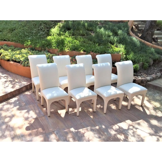 1980s Vintage Upholstered Parsons Chairs - Set of 8 For Sale - Image 13 of 13