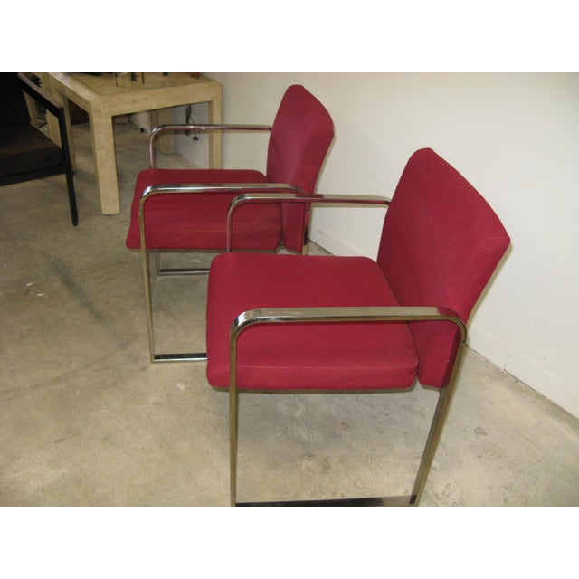1970s Mid Century Modern Chrome Flat Bar Side Chairs- A Pair For Sale - Image 5 of 8