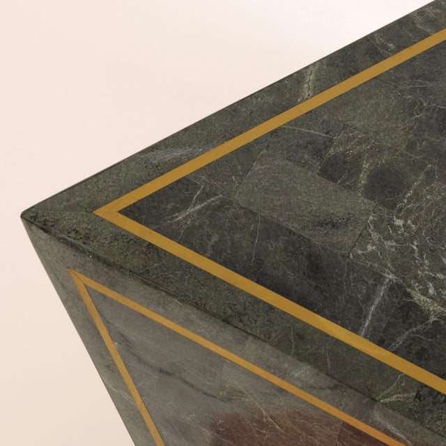 Metal 1980s Octahedron Tessellated Marble Side Tables For Sale - Image 7 of 10