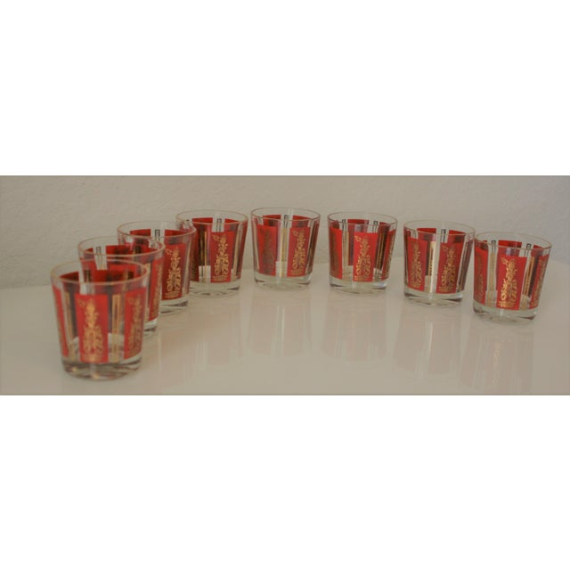Mid-Century Red & Gold Mandalay Thai Goddess Rock Glasses - Set of 8 For Sale - Image 5 of 7