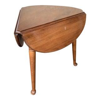 Ethan Allen 3 Leg Drop Leaf Pie/Handkerchief/Clover Shape Table For Sale