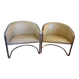 1950s Vintage Barrel Lounge Chairs- A Pair For Sale