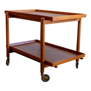 1960's Danish Modern Poul Hundevad Teak Bar Cart For Sale