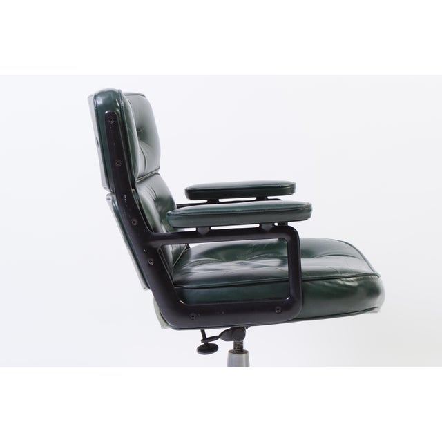 Animal Skin Eames Green Leather Time Life Chair for Herman Miller For Sale - Image 7 of 9