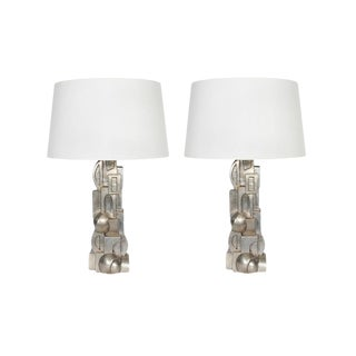 1980s Machine Age Silver Gilt Lamps with Shades - a Pair For Sale