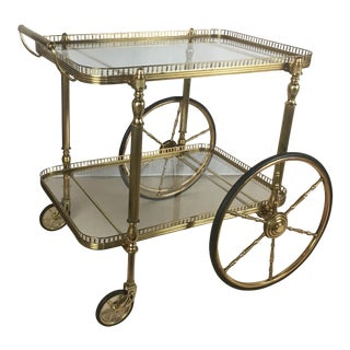 Neoclassical French Brass Bar Cart, Circa 1940 For Sale