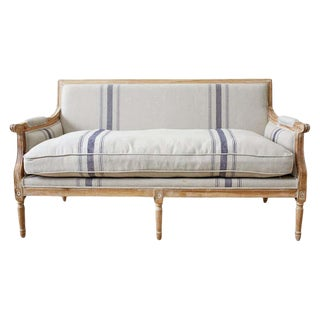 French Louis XVI Style Bleached Oak Settee Loveseat For Sale