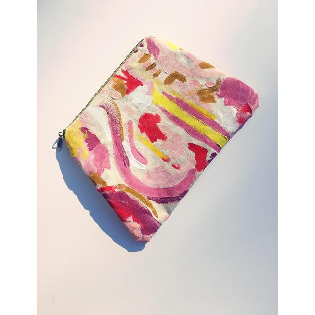 """2010s """"Painted Lady Pouch"""" Hand Painted Abstract Purse For Sale - Image 5 of 6"""