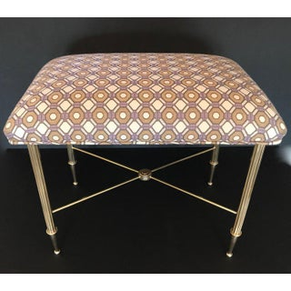 French Upholstered Brass With Reeded Legs Bench / Stool Preview