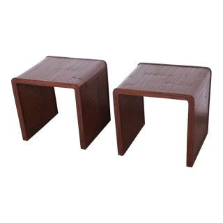 McGuire California Modern Faux Bamboo End Tables, Pair For Sale