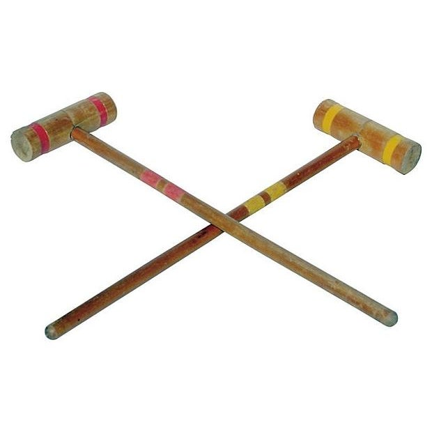 Old-School Croquet Mallets in Red & Yellow - A Pair - Image 2 of 2