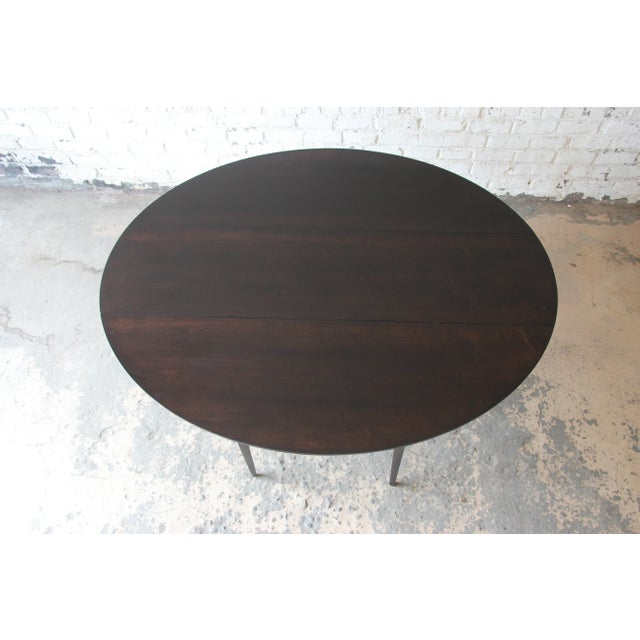 Edward Wormley for Dunbar Mid-Century Walnut Oval Drop-Leaf Dining Table For Sale In South Bend - Image 6 of 13