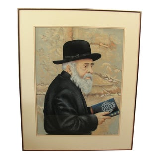 Pastel Portrait Jewish Man Rabbi by Leslie For Sale