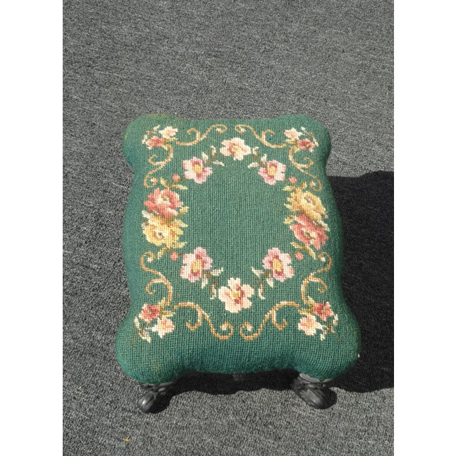Vintage French Provincial Green Needlepoint Footstool W Ornate Cast Iron Base For Sale In Los Angeles - Image 6 of 12