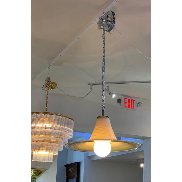 Vintage Vetri Murano Glass Pendant Chandelier With Chrome Hardware For Sale - Image 9 of 12