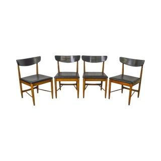 Mid Century Modern Set of 4 Danish Style Walnut Dining Chairs For Sale