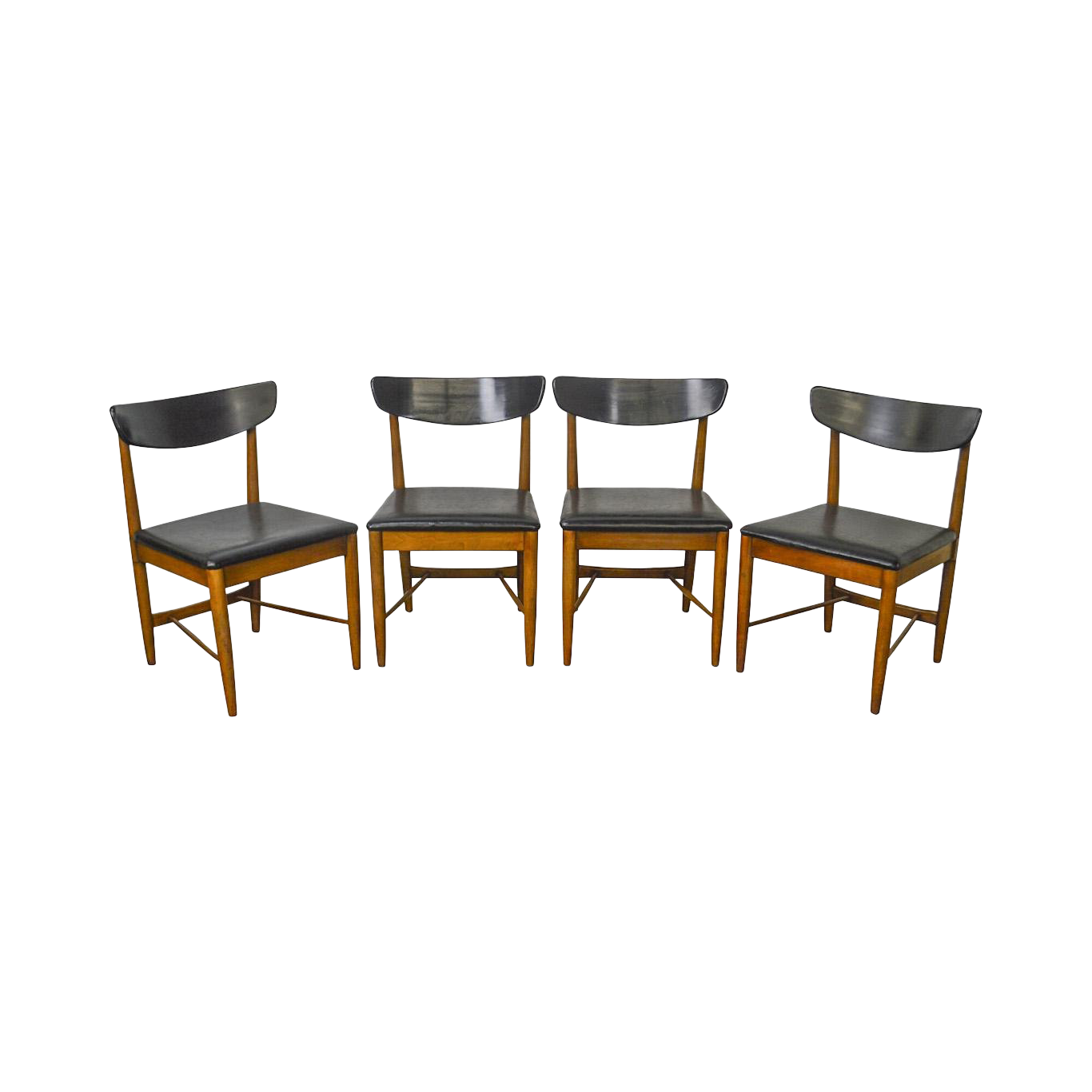 Mid Century Modern Set Of 4 Danish Style Walnut Dining Chairs