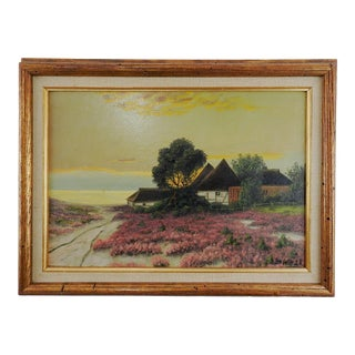 1928 Seaside Cottage Sunset Painting For Sale