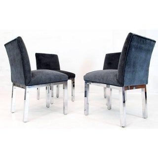 Chrome and Mohair Upholstery Dining Side Chairs - Set of 4 Preview