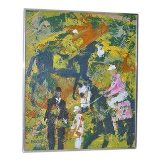 "Magnus Engstrom ""Polo Match"" Original Painting C.1970"