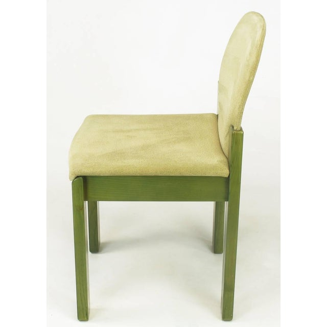 Saporiti Italia Four Ernesto Radaelli for Saporiti Dining Chairs in Dyed Green Oak and Suede For Sale - Image 4 of 9