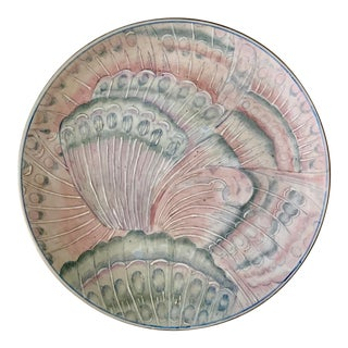 Large Vintage Ceramic Round Plate With Pink Butterflies Decoration For Sale