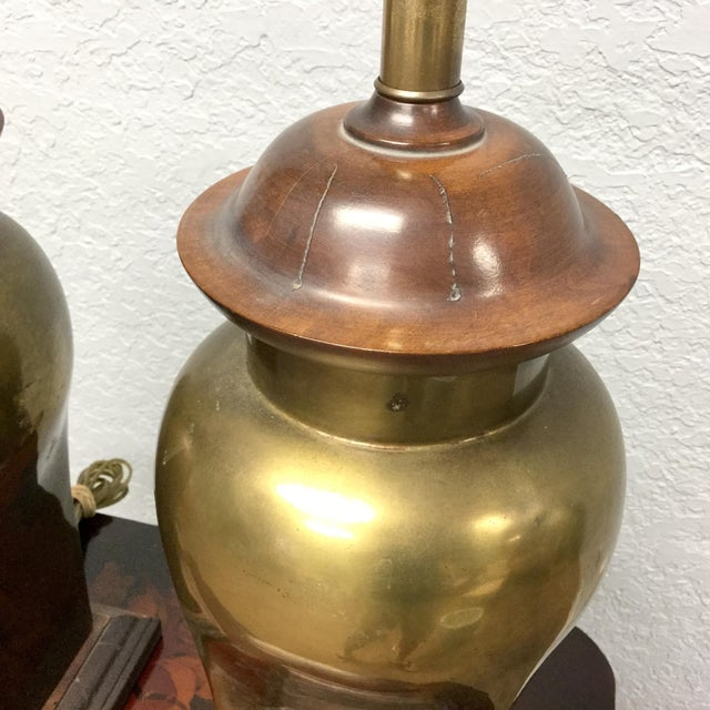 Hollywood Regency 20th Century Hollywood Regency Ethan Allen Brass Table Lamps - a Pair For Sale - Image 3 of 9