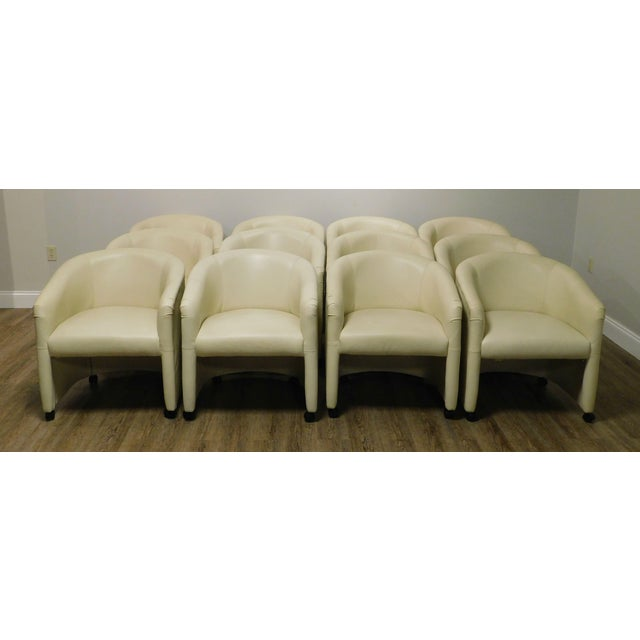 Postmodern Vintage Set 12 Postmodern Off White Leather Barrel Back Chairs For Sale - Image 3 of 13