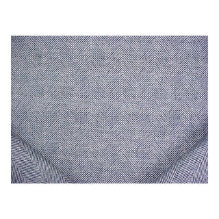 Traditional Schumacher Caro Herringbone Indigo and Pearl Upholstery Fabric - 9-3/8y For Sale