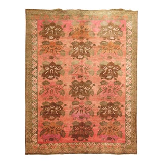Bubble Gum Pink Vintage Turkish Rug, 9' X 12'4'' For Sale